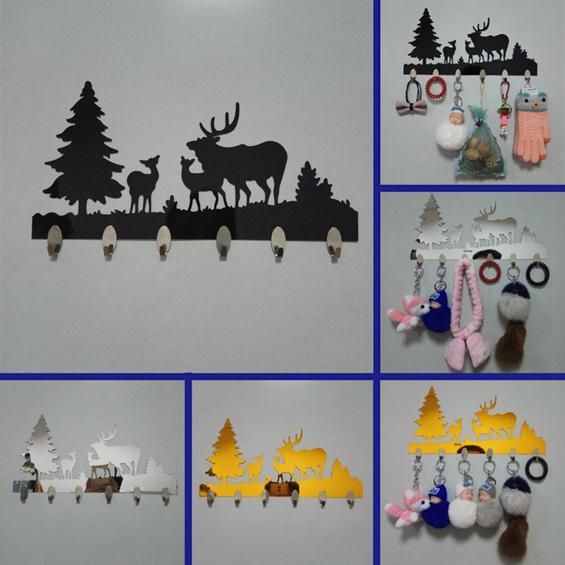 Coat Hook After The Door Stainless <font><b>Deer</b></font> And Trees Indoor Decoration Wall Decor <font><b>Hanger</b></font> Key Clothing Holder For Bathroom image