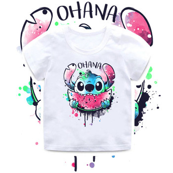 2020 New Summer Baby Boys T shirt Cute Lilo Stitch OHANA Print Kids T-Shirts Funny Cartoon Children Tops Girls Clothes,HKP5362