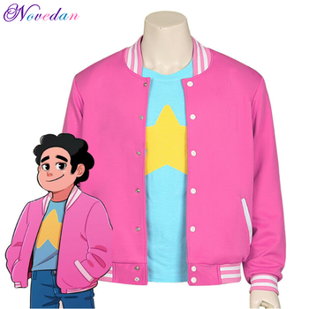 Steven Universe Steven Cosplay Baseball Jacket Women Men Cartoon Pink Coat T-Shirt Tee Top T Shirt Halloween Costume steven t callan the game warden s son
