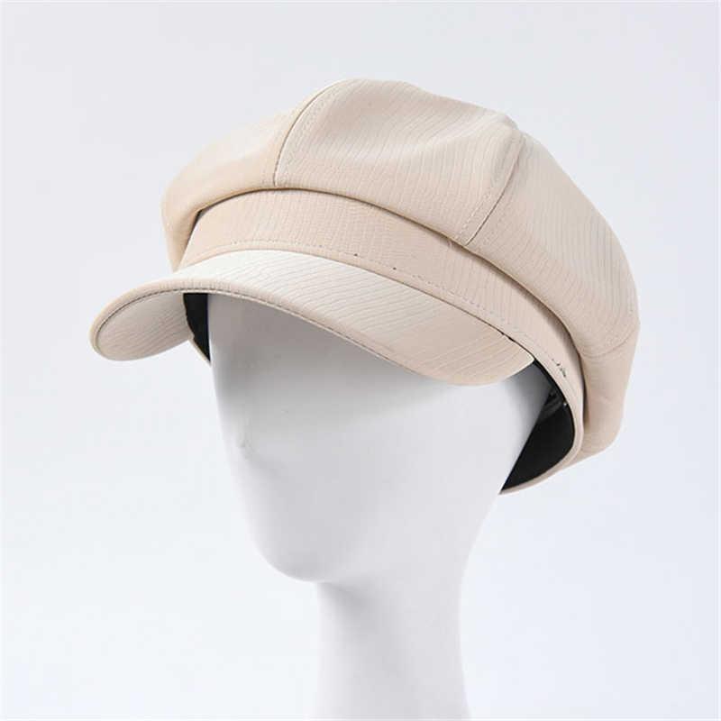 Nueva moda mujer PU octogonal Caps tendencia aguacate verde sombreros de sol con visera gorras militares de cuero de imitación Newsboy Cap al por mayor