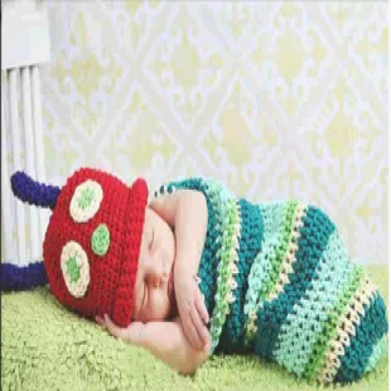 Hot Sales Baptism Baby Handmade Photography Clothing Baby Photo Shoot Clothes Caterpillar Set