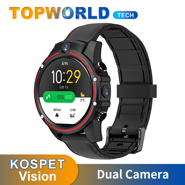 KOSPET Vision reloj inteligente para hombre y mujer, dispositivo con 4G LTE, 3GB + 32GB, cámara Dual, Bluetooth, Android 7,1, GPS, WIFI, Tarjeta Sim