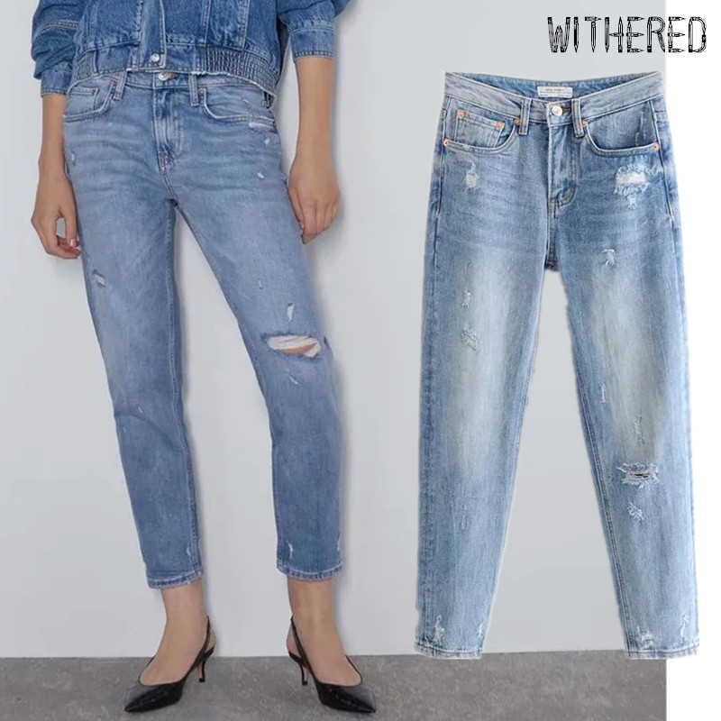 Withered 2020 England Simple High Street Regular Jeans Woman High Waist Jeans Ripped Jeans For Women Boyfriend Jeans JUMPSUITS