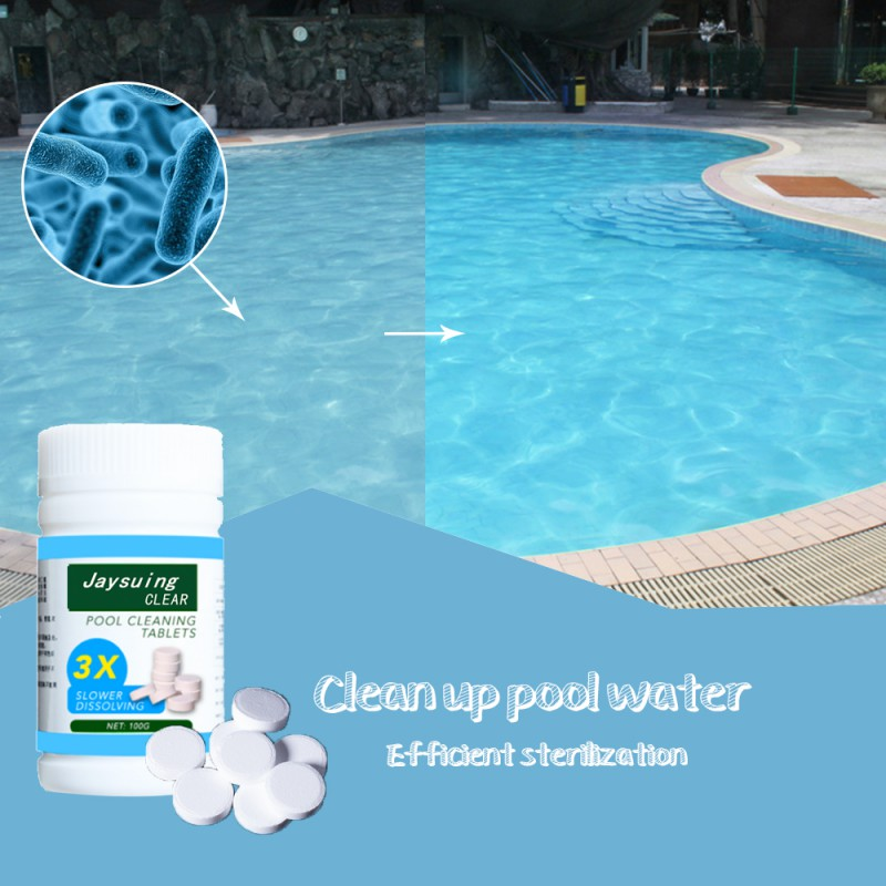 New 100 Tablets Pool Cleaning Effervescent Chlorine Tablet Practical Durable Multi-funcrional Disinfectant Cleaning Tablet Tool