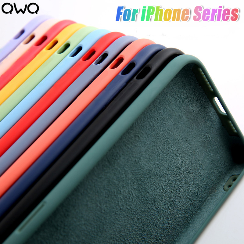 Luxury Liquid Silicone Case For IPhone 11 Pro X XS Max Shockproof Case For IPhone 7 8 Puls 6 5 5S SE 2020 XR Back Cover
