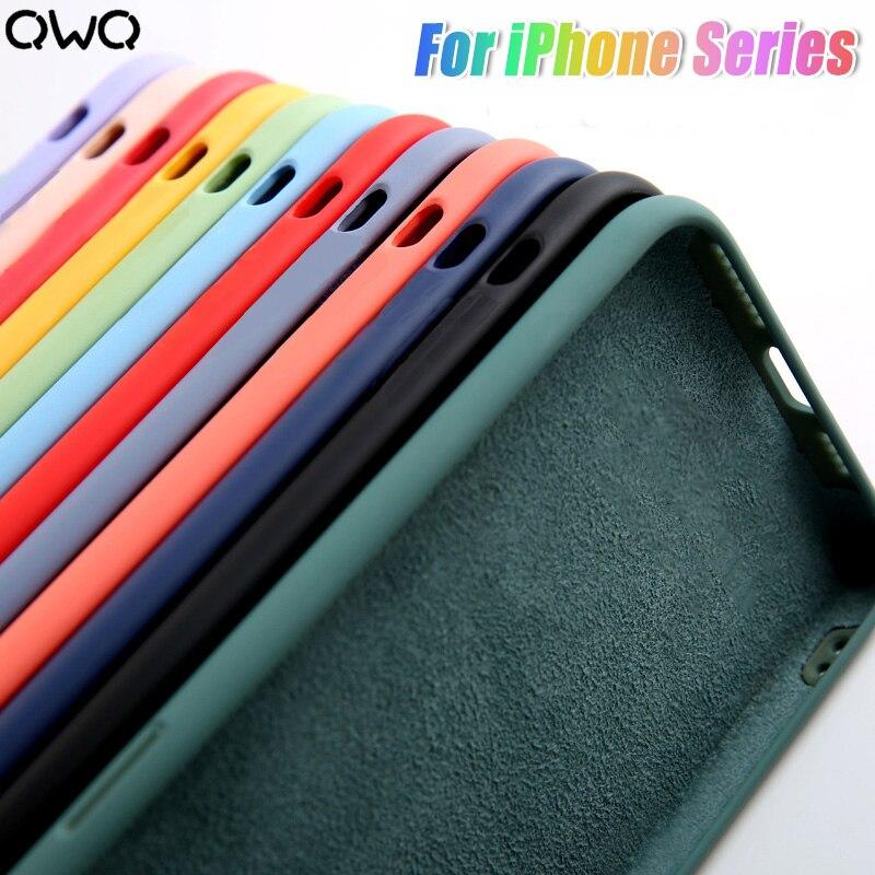 Роскошный жидкий силиконовый чехол для iPhone 11 Pro X XS Max противоударный чехол для iPhone 7 8 Puls 6 5 5S SE 2020 XR задняя крышка|Бамперы|   | АлиЭкспресс