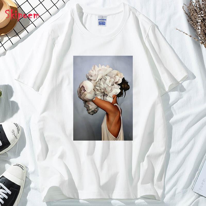 New Cotton Harajuku Aesthetics Tshirt Sexy Flowers Feather Print Short Sleeve Tops & Tees Fashion Casual Couple T Shirt(China)