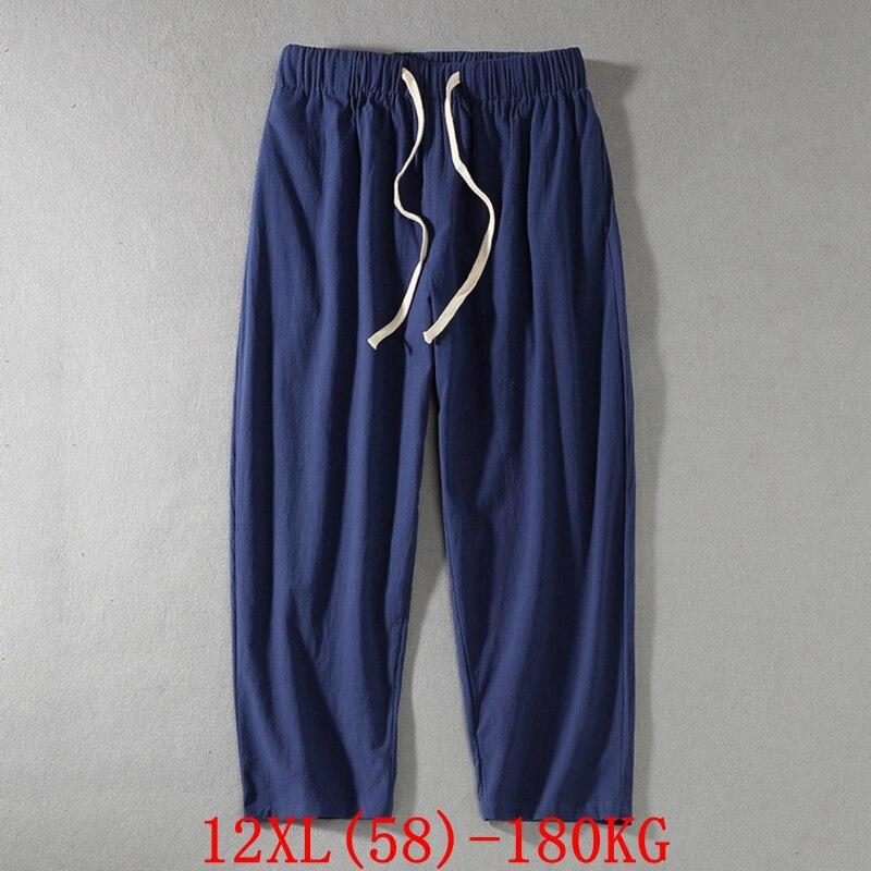 Large size men's pants Plus Size 9XL 10XL 11XL 12XL Autumn High Waist Loose Black Blue Plus Size Pants Sports 50 52 54 56 58