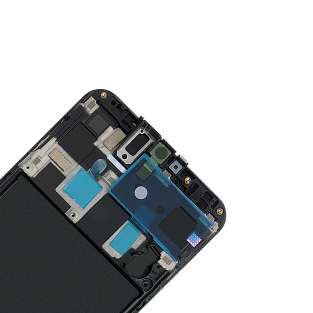 شاشات LCD لسامسونج غالاكسي A20 A205/DS A205F A205FD A205A عرض محول الأرقام بشاشة تعمل بلمس LCD مع الإطار لسامسونج A205 A20