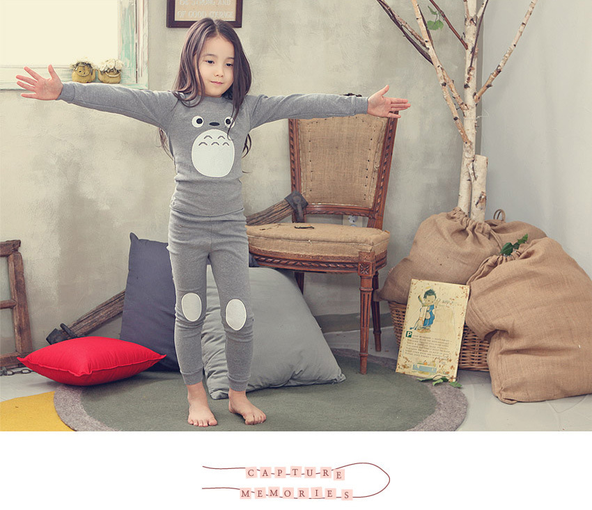 Korean-style New Style Lycra CHILDREN'S Underwear Suit Autumn And Winter CHILDREN'S Pajamas Totoro Embroidered Cotton Tracksuit