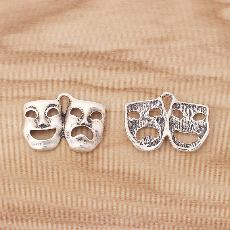 20 Pieces Mask Theatre Comedy & Tragedy Art Charms Pendants Beads for Bracelet Necklace Jewellery Making Findings 22x15mm|Charms| - AliExpress