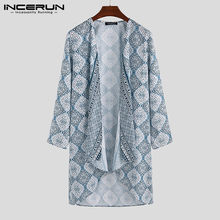 INCERUN 2019 Men Trench Long Sleeve Retro Long Coats Casual Ethnic Printed High Street Cardigan Fashion Vacation Men Cloak S-5XL(China)