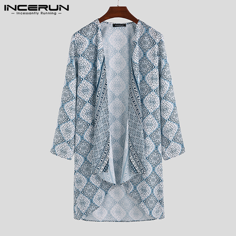 INCERUN 2020 Men Trench Long Sleeve Retro Long Coats Casual Ethnic Printed High Street Cardigan Fashion Vacation Men Cloak S-5XL