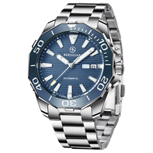 BERSIGAR-reloj automático de cristal de zafiro NH36 para hombre, deportivo, resistente al agua, 100M, mecánico, de acero inoxidable, a la moda