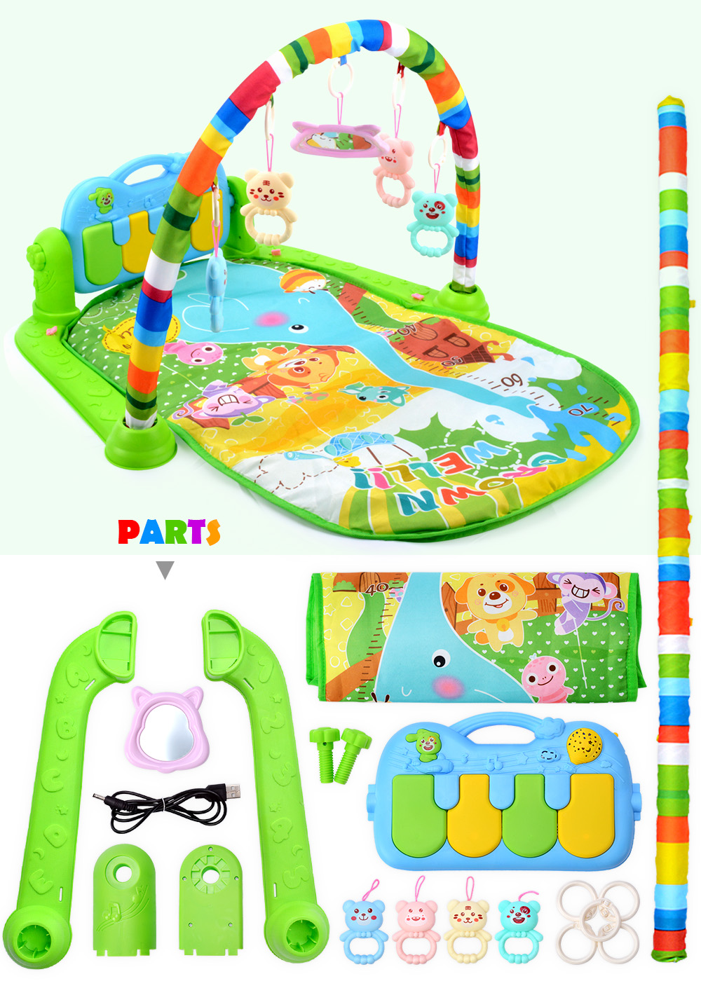 H9370ab1264274eb89ef1cd0ea7314661n 16 Styles Baby Music Rack Play Mat Kid Rug Puzzle Carpet Piano Keyboard Infant Playmat Early Education Gym Crawling Game Pad Toy
