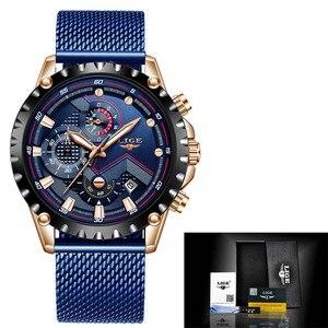 Image 5 - LIGE nowe męskie zegarki męskie modny Top marka luksusowy zegarek ze stali nierdzewnej niebieski kwarc mężczyźni Casual Sport wodoodporny zegarek Relogio