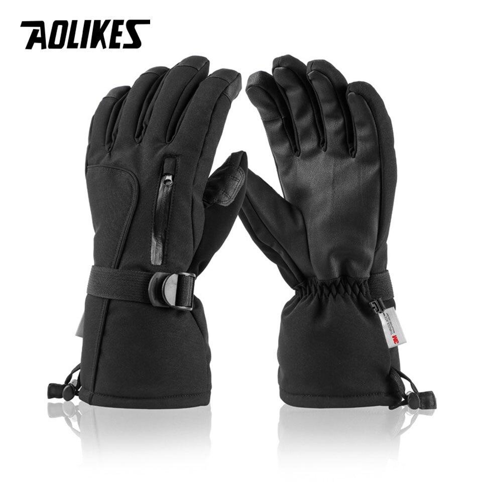 Перчатки AOLIKES сверхтолстые из искусственной кожи для лыжного спорта, зимние уличные спортивные теплые ветрозащитные водонепроницаемые сно...