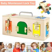 Montessori Lock Box Practical Life Toy Open the Lock Key Educational Wooden Toys For Children Basic & Life Skills Learning Toys