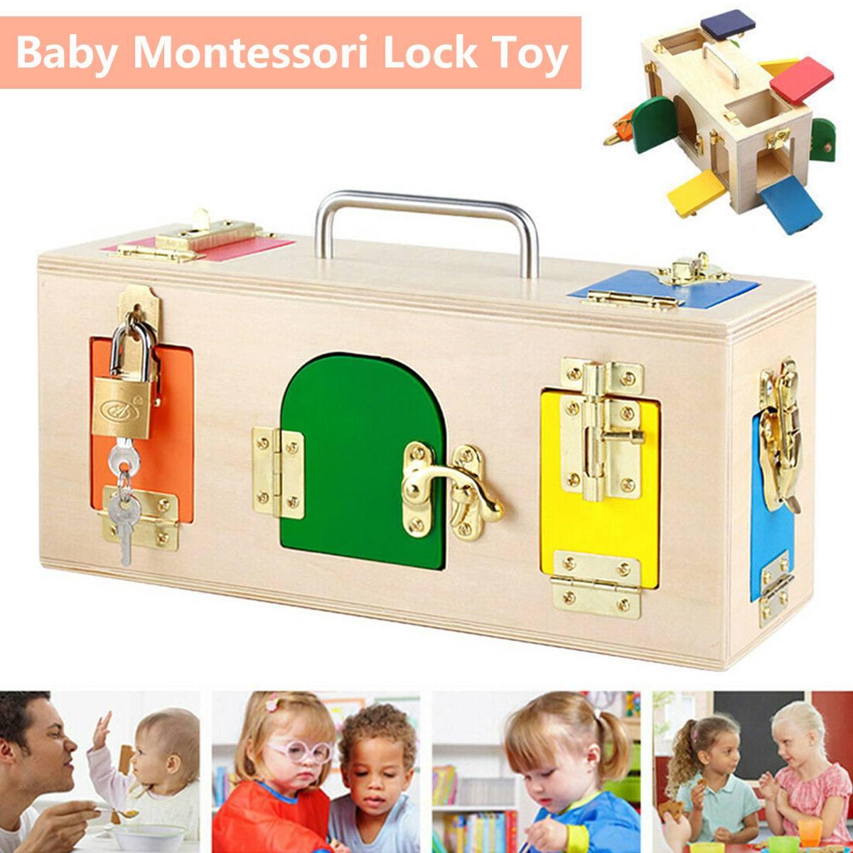 Montessori serrure boîte vie pratique jouet ouvrir la serrure clé éducatifs en bois jouets pour enfants de base et compétences de la vie jouets d'apprentissage