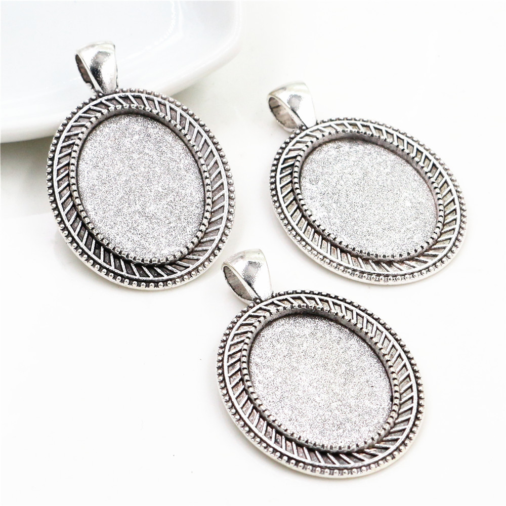 4pcs 18x25mm Inner Size Antique Silver Plated Flowers Style Cameo Cabochon Base Setting Pendant Necklace Findings  (C2-19)