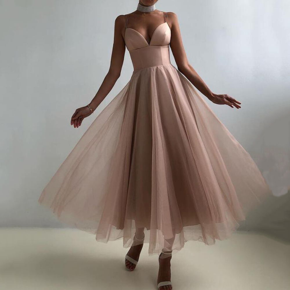 Sevintage Simple Tulle Short Prom Dresses A Line Straps Tea-Length Evening Party Gowns Custom Made Girls Homecoming Dresses