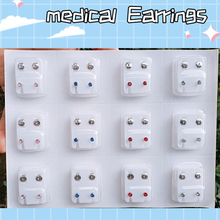 12 pairs safe sterile medical surgical steel nail ear nose lip puncture