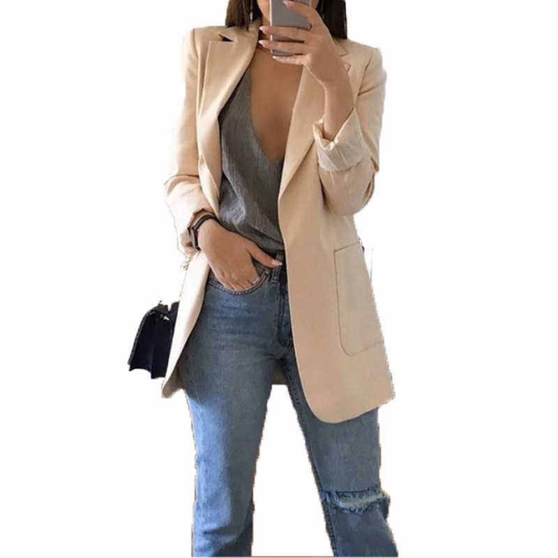 Women's Europe And The United States Spring And Autumn Explosions Fashion Lapel Slim Cardigan Temperament Large Size Suit Jacket