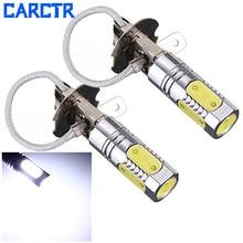 CARCTR Новый 1 пара светодиодный противотуманный фонарь H3 лампы для автомобиля 12 В 7,5 Вт 7500 К Белый супер яркий прожектор COB 5 свет для лица Автомобильный светодиодный противотуманный фонарь 90063
