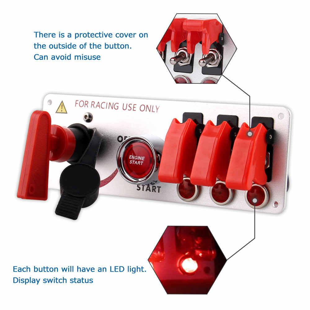12V Racing Car LED Toggle Ignition Switch Panel Engine Start Push Button Auto