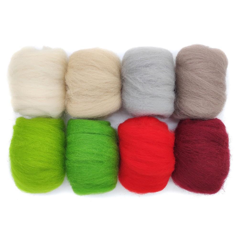 8 Pack Needle Felting Wool Roving 10g x 8 Colors 80g Merino Wool 19 Microns N