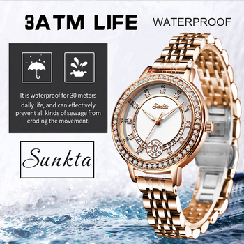 Classic Women Rose Gold Top Brand Luxury Laides Dress Business Fashion Casual Waterproof Watches Quartz Calendar Wristwatch+Box ailang classic roman number women business dress watches auto self winding real leather wristwatch calendar relojes 3atm nw7192