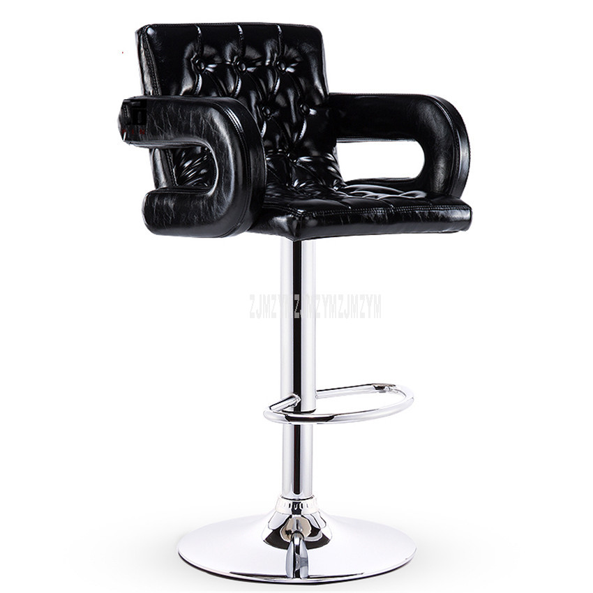Fashion Modern Bar Counter Chair PU Leather Soft Sponge Seat High Footstool Lifting Swivel Barchair With Backrest And Armrest