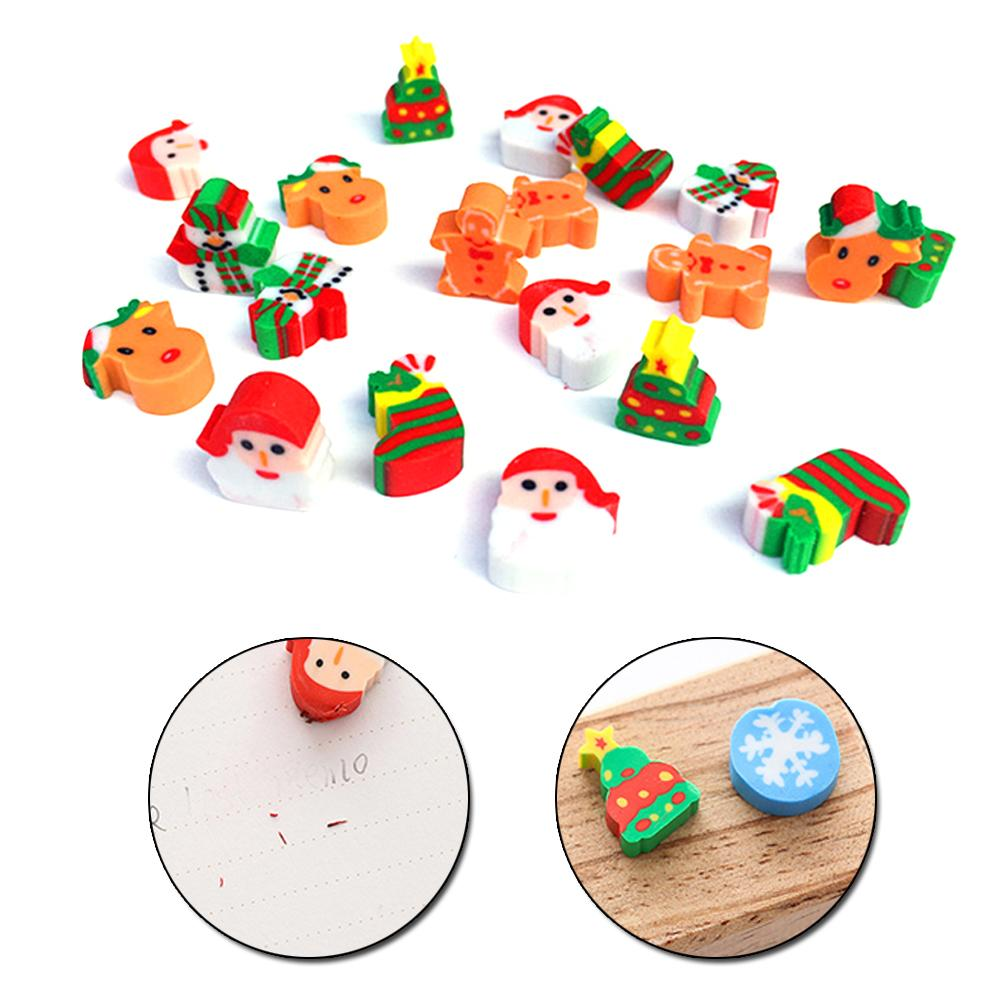 40PCS/Box Christmas Eraser Design Of Kawaii Christmas Tree/Snowman/Santa Claus/Snowflake Shape Kids Gifts School Supply