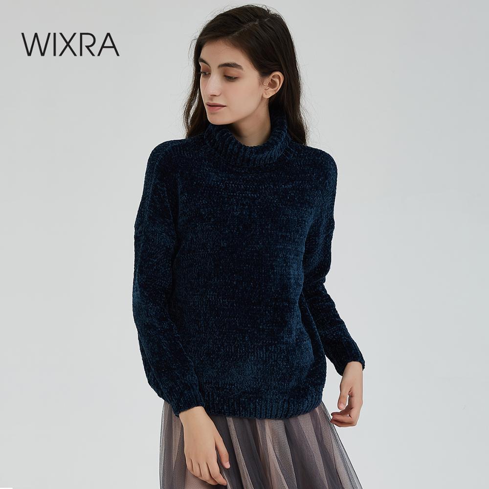 Wixra col roulé femmes Pull élégant Chenille automne hiver chaud Femme Pull épais chandails tricoté Pull haut Pull Femme