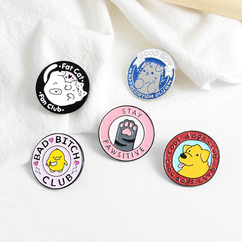 Adorable Family Members Enamel Pins Paw Dog Cat Chicken Pet Animal Jewelry Round Custom Brooches Lapel Pin For Friends Gift 5