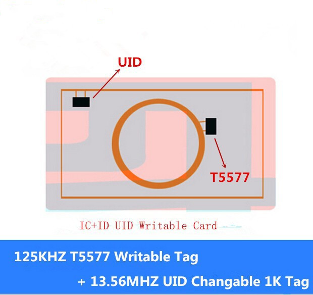 Rewritable Double 2 In 1 Chip 125KHZ T5577 RFID + 13.56MHZ UID Changeable S50 1K NFC C+ID Composite Card Keyfob Token Tag Key