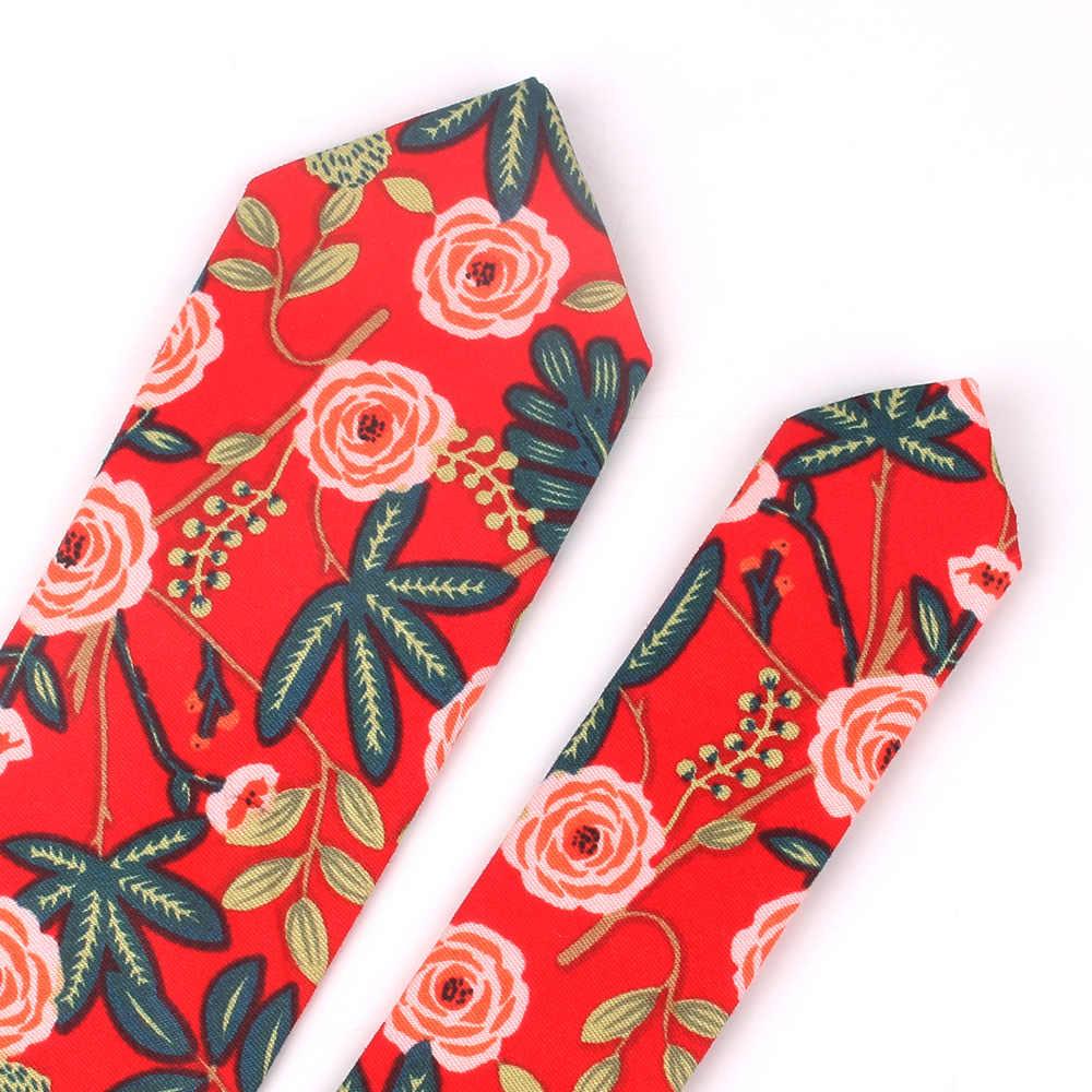 남성 여성을위한 새로운 꽃 넥타이 웨딩 캐주얼 망 넥타이에 대한 스키니 코튼 넥타이 클래식 정장 꽃 인쇄 넥타이 넥타이