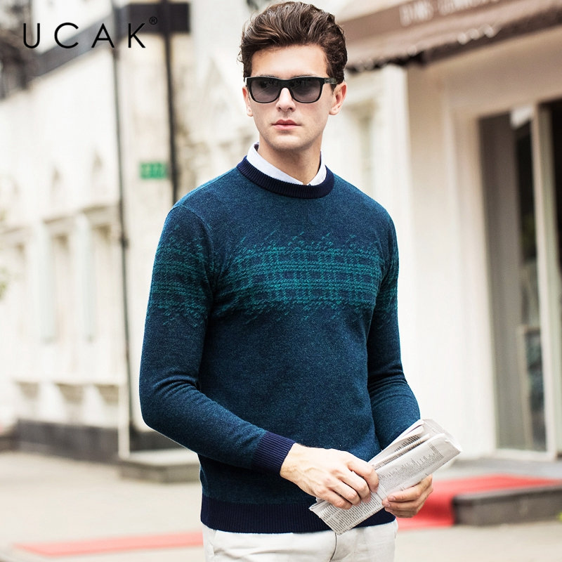 Image 2 - UCAK Brand Pure Merino Wool Sweater Men 2019 New Arrival Autumn 
