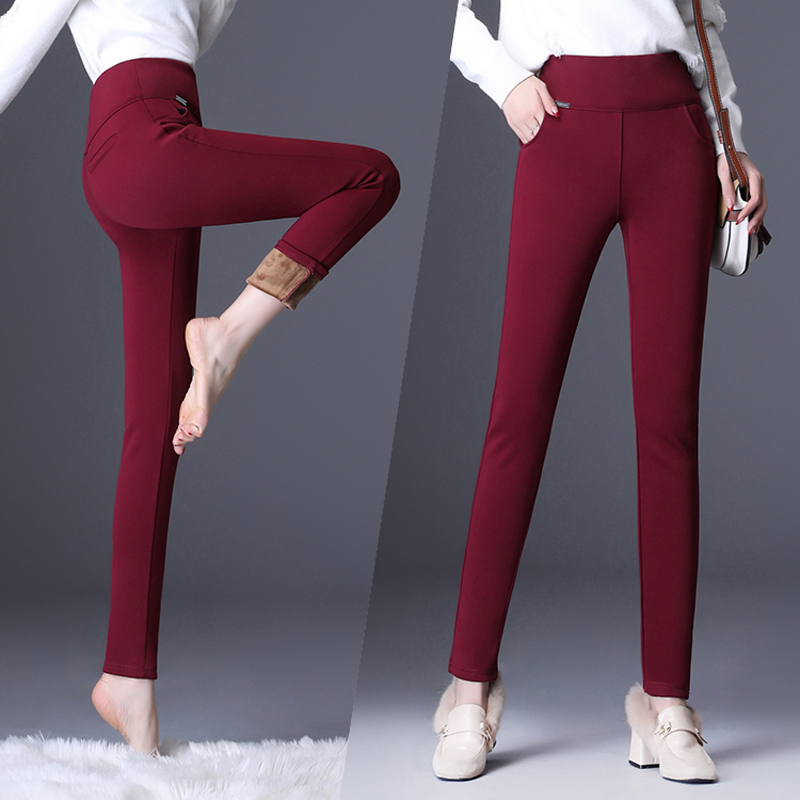 Winter Warm Skinny Pants Women Elastic Waist Long Trousers Casual Stretch High Waist Pencil Pant Black Blue Leggings Plus Size