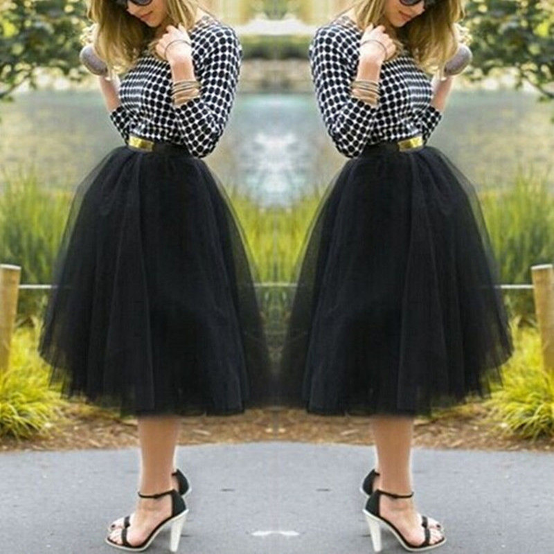 Hot Sale Fashion Women Knee Length Fan Costume Under Rockabilly Petticoat Tutu Tulle Skirts Ball Gown Mini Skirt