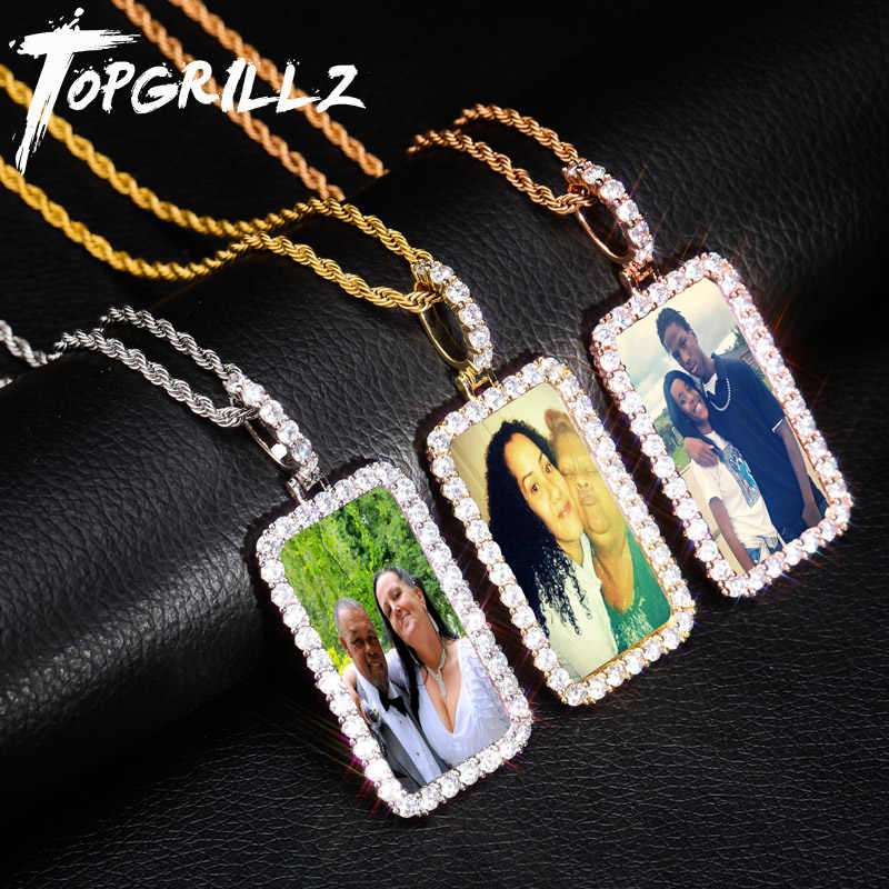 TOPGRILLZ Custom Made Photo Square Medallions Necklace & Pendant With 4mm Tennis Chain Gold Silver Zircon Men's Hip hop Jewelry