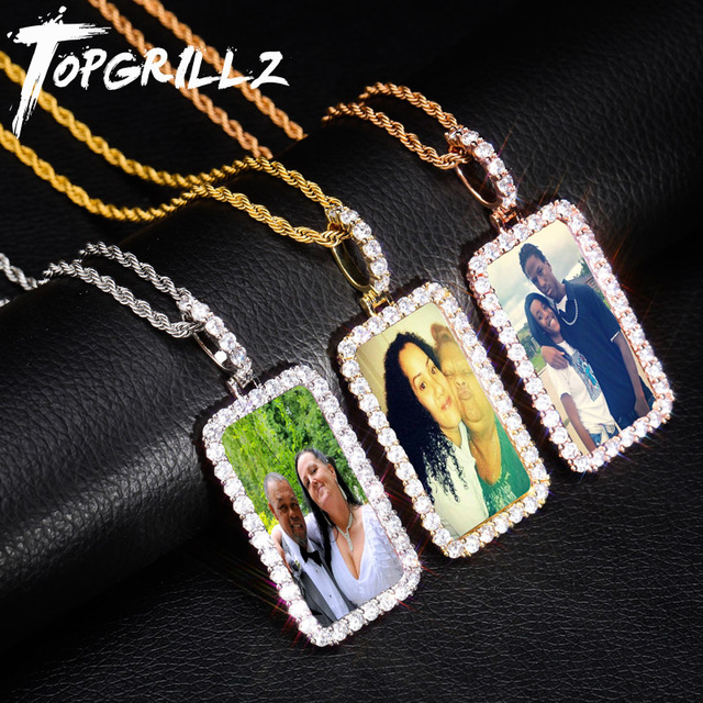 TOPGRILLZ Custom Made Foto Medaglioni Quadrati Collana e Ciondolo Con 4 millimetri Tennis Catena Oro Argento Zircone Hip hop degli uomini di hop Dei Monili