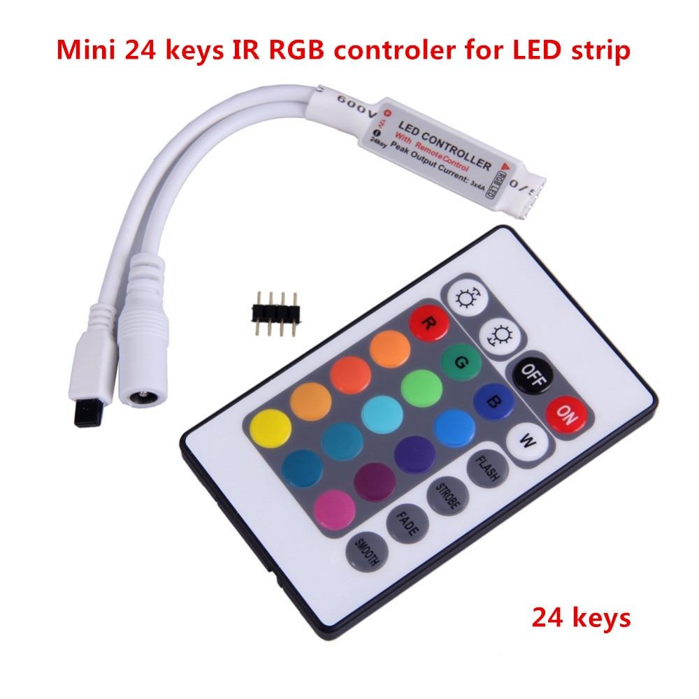 1 PCS Mini 24 Keys LED IR RGB Controller For RGB SMD 3528 5050 LED Strip LED Lights Controller IR Remote Dimmer Input DC12V 6A