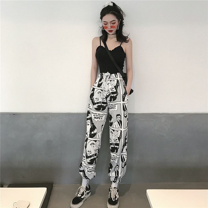 Hip Hop Streetwear Men's Splice Comics Printed Pants Fashion Casual Cargo Pant Trousers High Street Elastic Waist Harem Pant
