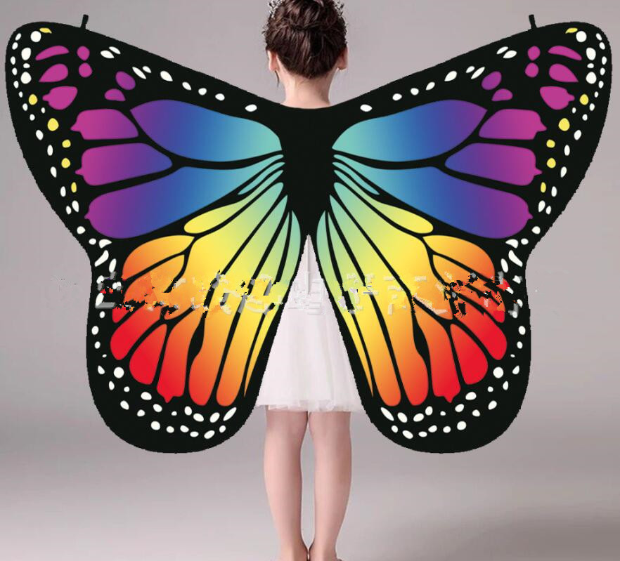 Child Soft Cloth Fabric Butterfly Blue Purple Orange Wings Costume Accessory