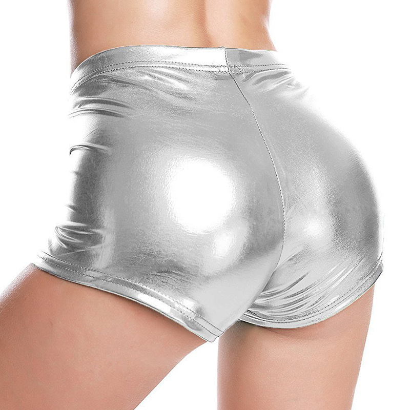 Gold Hands Red Sexy Fitness Jack Metal Wild Beauty Shorts Summer Fashion Women Low-rise Lycra Metallic Glossy Silver Shorts