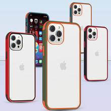 Phone Case For iPhone 12 11 Pro Max X Xs MAX XR Shockproof Armor Transparent Camera Protection Airbag Candy Color Cover Case