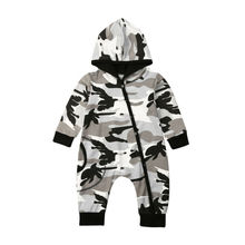 Newborn Baby Boy Clothes Long Sleeve Camouflage Hooded Romper