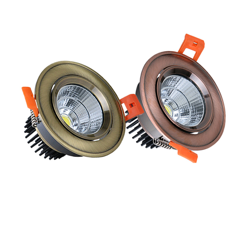 Dimmable COB Downlight 3W 5W 7W 9W 10W12W 15W LED Bronze Copper Ceiling Lamp Recessed Spotlight Lamp Indoor Light AC110V 220V