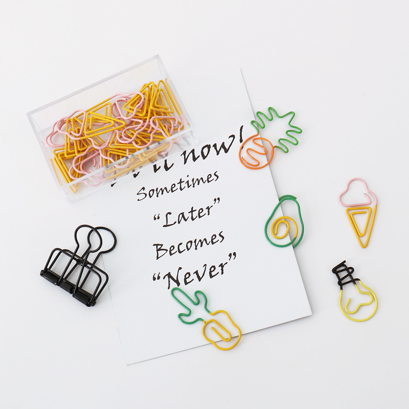 TUTU 10 pcs/lot Creative Kawaii pineapple ice cream bulb Shaped Metal Paper Clip Bookmark Stationery Escolar Papelaria H0281 5